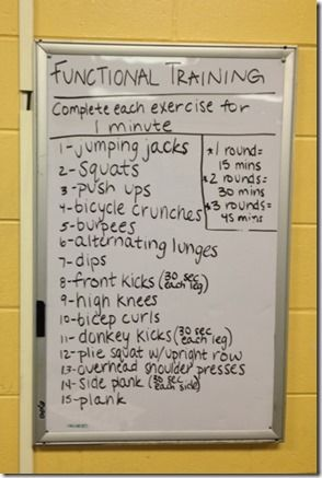 Functional Training Workout. Good Idea but think I would do 30 secs of each and then repeat twice. Would also do one cardio element followed by 1 strength move to mix it up and keep my heart rate up to burn more fat.