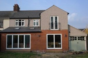 Rear of house after double storey side and rear extension completed