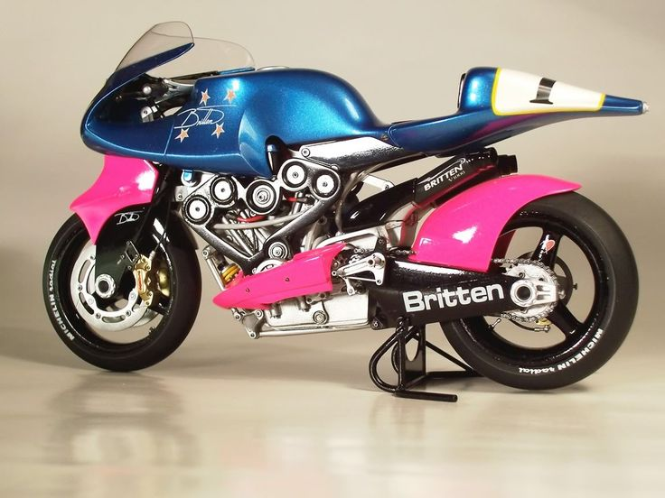 John Britten's spectacular bike, nearly every piece was built by him by hand at his home shop, including the engine. A race bike, this home made unit competitively raced, and often won, against the major manufactures bikes that had million dollar budgets.