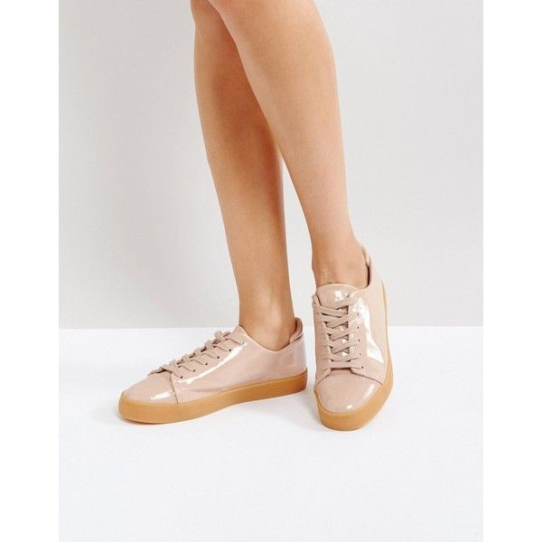 ASOS DARLEY Patent Clean Lace Up Trainers ($36) ❤ liked on Polyvore featuring shoes, sneakers, beige, asos, prom shoes, lace up shoes, lacing sneakers and patent sneakers
