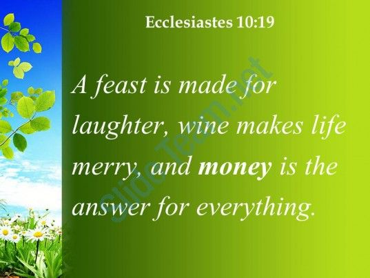 ecclesiastes 10 19 money is the answer for everything powerpoint church sermon Slide03  http://www.slideteam.net/