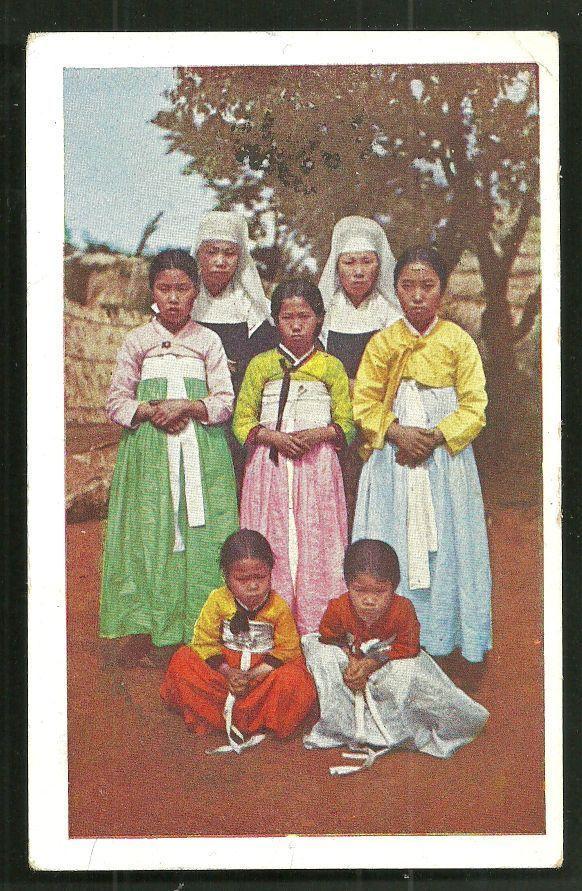 German mission sisters, 1917 Korea color postcard.