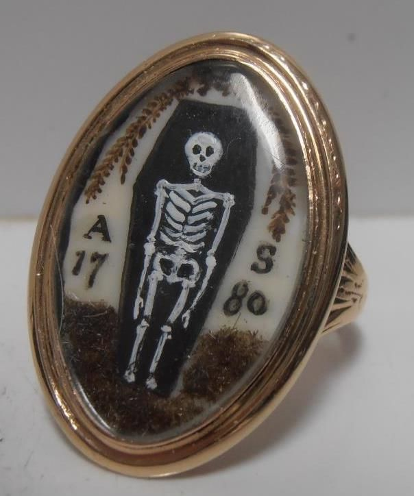STUNNING GOLD MEMENTO MORI MOURNING SKELETON RING ADAM SCHWENCK At 13 Sept 1780....x