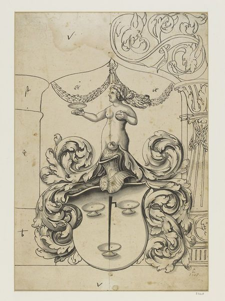 Design for stained glass, an unidentified crest of three cups mounted by a nude woman holding a fourth cup. Architectural setting.