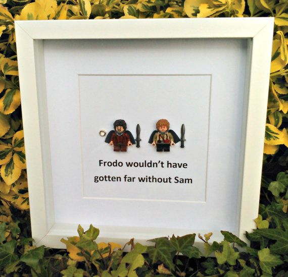 Frodo and Sam Brick Figure Art Framed Gift by DanMakesWithLove