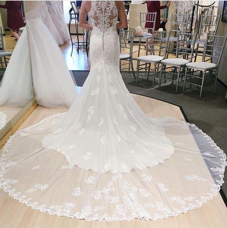 LACE WEDDING DRESS WITH HALTER NECKLINE (#D2174 | Essense of Australia) #SYTTD #MichellesBride #MichellesBridalandTuxedo