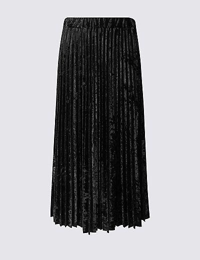 Velvet Pleated A-Line Midi Skirt | M&S