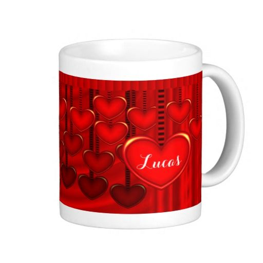 Dangling Hearts Curtain Valentines Day Anniversary - This beautiful mug has lots of red hearts dangling from ribbons behind and in front of a show and stage curtain. This name says Lucas but you can change the name to whatever text you wish and then give it to your boyfriend, girlfriend on Valentines Day or to your husband or wife as an anniversary gift.