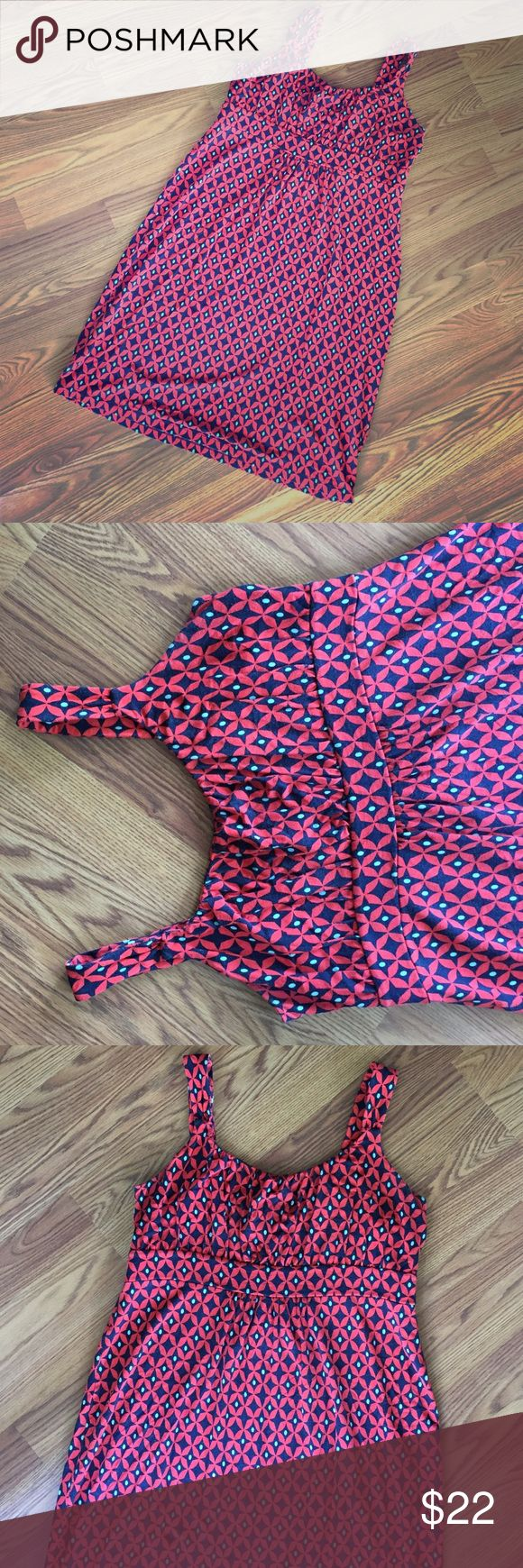 LOFT jersey knit dress. Petite large. Very cool geometric pattern in coral, navy, and aqua. Knee length. Empire waist. Slight pleating at bust. Straps wide enough to wear a regular bra! Petite large fits a 10-12 best! LOFT Dresses