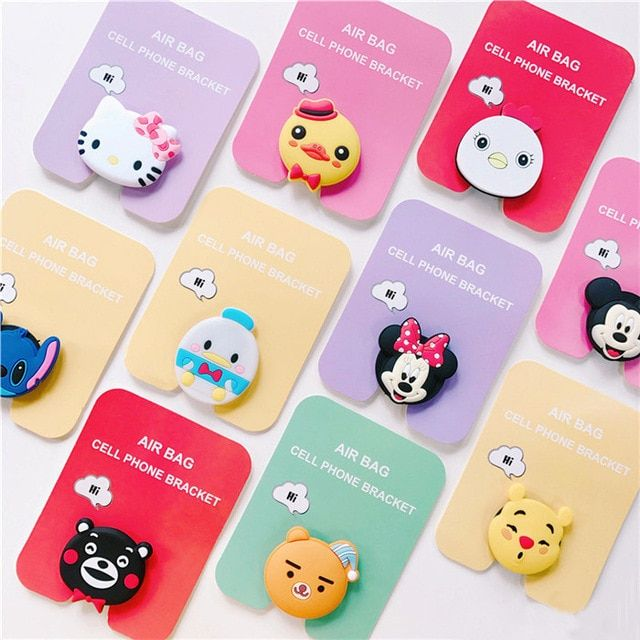 d747e717b Air bag cell phone bracket Cute Stitch pooh Ryan mickey minnie Phone Stand  Finger Holder For iPhone Samsung universal Review
