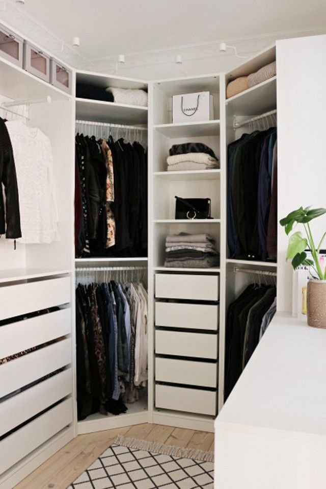 I like the idea of having shelves go around the corner. Corners in closets are always such a waste of space