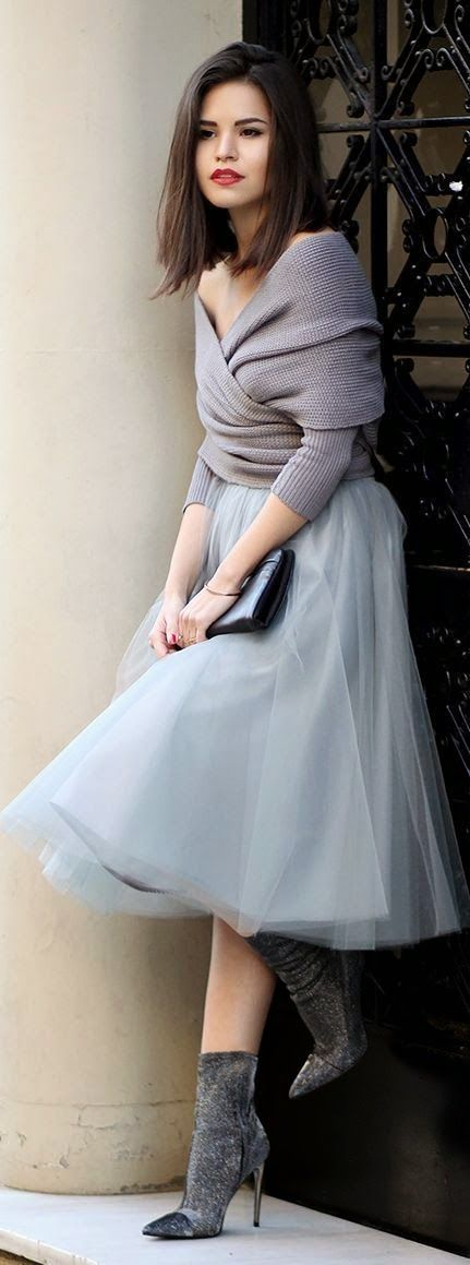 Grey Faux Tulle Skirt , Off shoulder Cute Sweater and High Heel Booties | Street Style