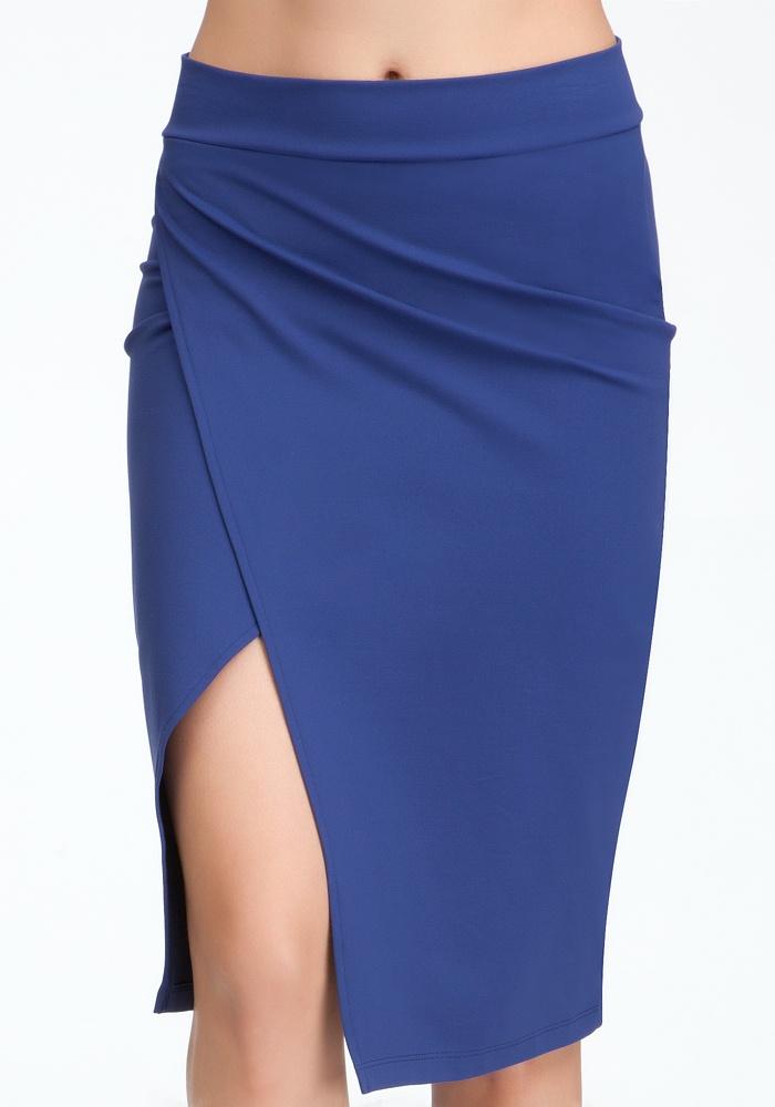 Open Slit Wrap Skirt - Online Exclusive - Peacoat - S