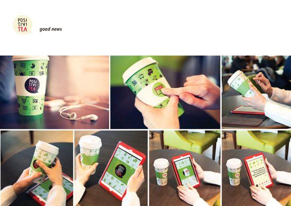 Paper tea cup + Phone app = Interactive brand. Great idea!