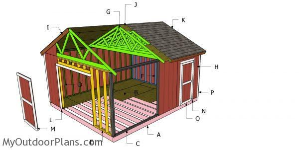 16x18 Gable Shed Roof Plans Myoutdoorplans Free Woodworking Plans And Projects Diy Shed Wooden Playhouse Perg In 2020 Woodworking Plans Free Diy Shed Shed Plans