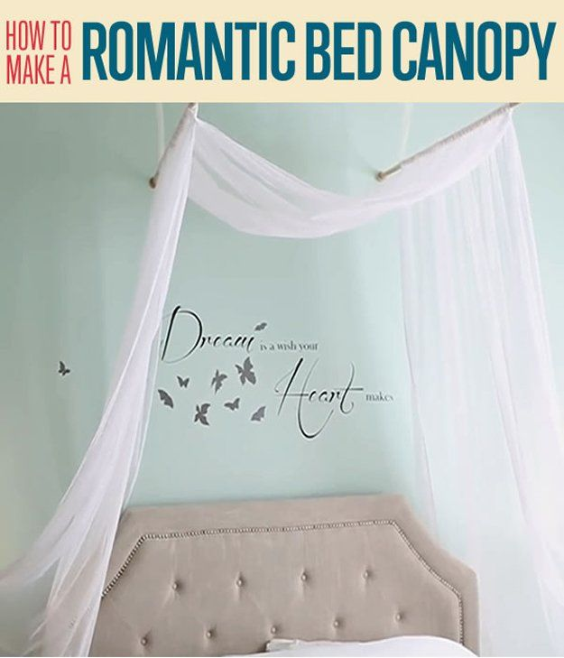 How to make a romantic bed canopy easy diy crafts fun for Easy canopy bed ideas