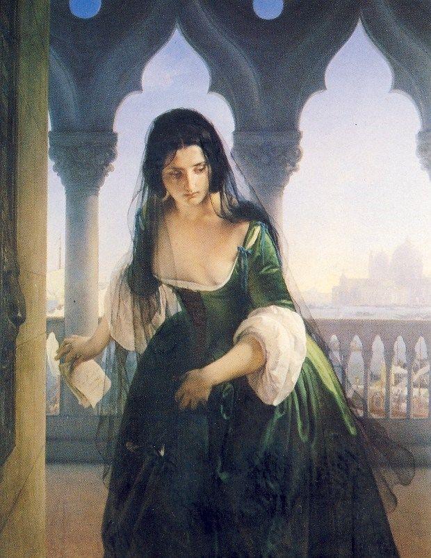 """""""Accusa segreta"""", Francesco Hayez, 1847-48; olio su tela, 153x120 cm; il dipinto entra a far parte della collezione dei Musei Civici del castello Visconteo a Pavia nel 1919, mentre precedentemente si trovava esposto presso la Scuola di Pittura."""