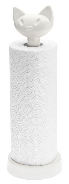 Stojak na ręcznik kuchenny MIAOU - kolor biały, KOZIOL  Rewelacyjna ozdoba kuchenna, ułatwia wygodną aplikację ręcznika papierowego z rolki a do tego swoim uroczym motywem rozweseli każdego. :)