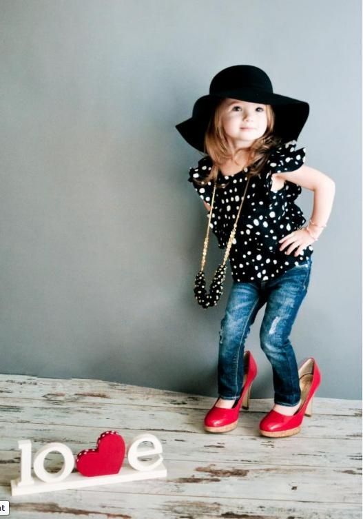 """Holland rocking 77kids flutter sleeved dot top and wide brim felt floppy hat. love."" - Chelsea"