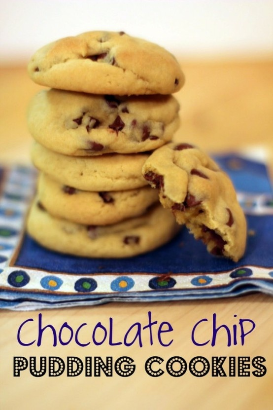 Chocolate Chip Pudding Cookies    The pudding in the batter makes for a moist, soft chocolate chip cookie – even after a few days!  What's fun about this recipe is that you can experiment with different flavors of pudding (check out our Oreo Pudding Cookies) and different mix-ins (besides the chocolate chips).  Butterscotch pudding cookies tast - Click image to find more hot Pinterest pins