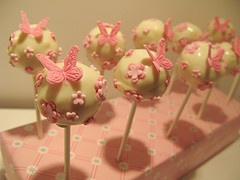 So Sweet Butterfly and flower cake pops, wrapped with tags for party favors to take home :)