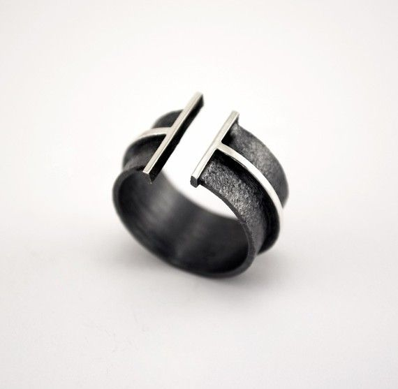 Oxidized  Texturized Sterling Silver Band Ring  by mariagotijoyas, €68.00