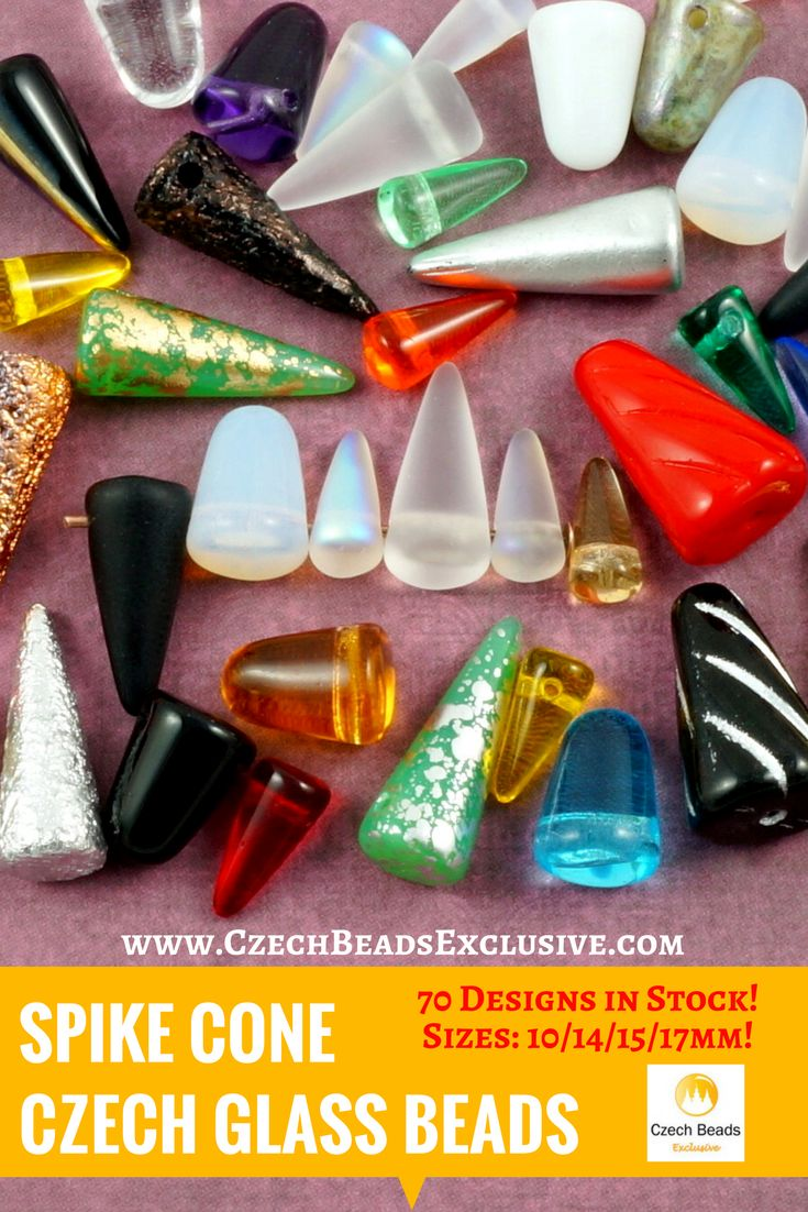 Czech Glass Spike Cone Beads  70 designs in stock! Sizes: 10/14/15/17mm - Buy now with discount!  Hurry up - sold out very fast! www.CzechBeadsExclusive.com/+spike SAVE them! #czechbeadsexclusive #czechbeadsdisc