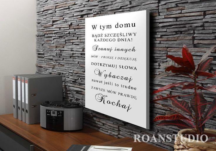 Domowe+zasady,+grafika+40x70+druk+na+płótnie.+w+Roanstudio+na+DaWanda.com
