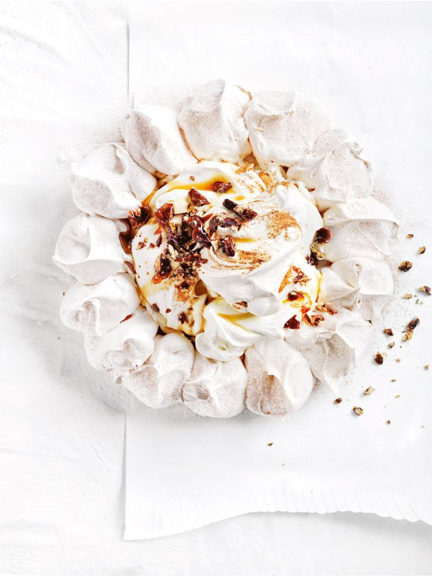 cinnamon and candied pecan pavlova from donna hay