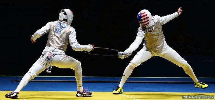 Alex Massialas (R) competes against Mohamed Essam (L) of Egypt in the men's individual foil qualifications at the Rio 2016 Olympic Games at Carioca Arena 3 on Aug. 7, 2016 in Rio de Janeiro. - The Best Photos From Rio 2016: Aug. 7 Edition