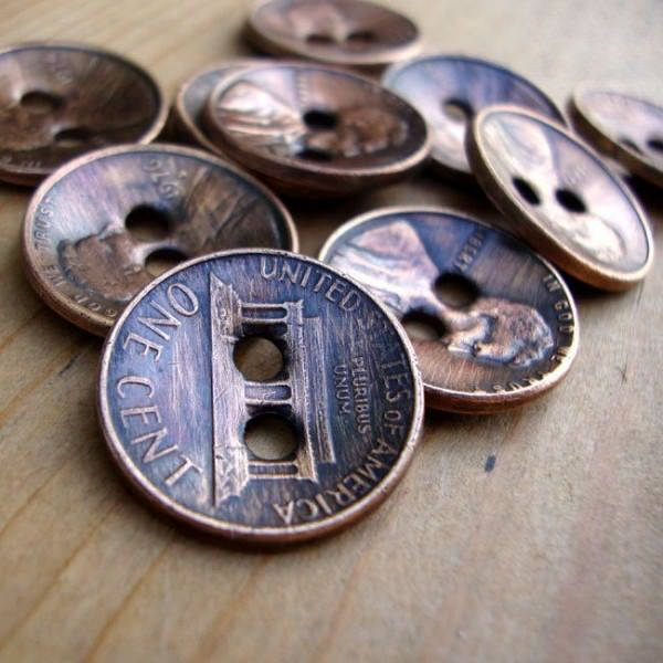 Copper Penny Upcycled Into Buttons Accessories Metals