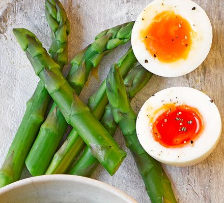 We love this spin on the traditional using asparagus soldiers for your dippy egg - a great low-fat, gluten-free snack or light lunch, just over 100 calories