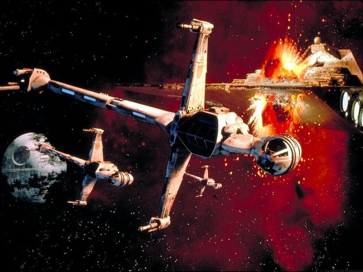 B-wing starfighter - biggest, most heavily armed fighter in the rebel fleet; it's badass. I had this poster on my wall for years growing up - it was the coolest still I'd ever seen.