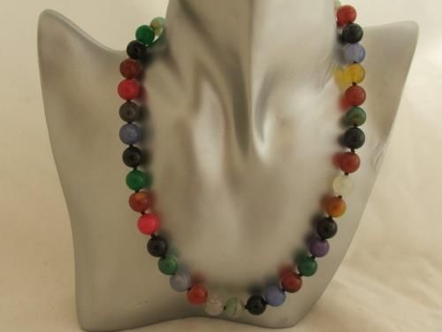 18-Multicoloured-Agate-Gemstone-Necklace-Sterling-Silver-Clasp