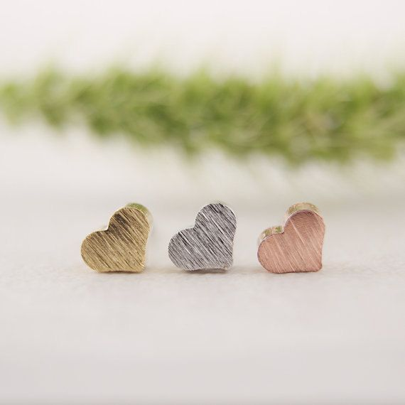 Heart stud Earrings,heart earrings, gold heart earrings, silver heart earrings, rose gold heart earrings, gift for Her