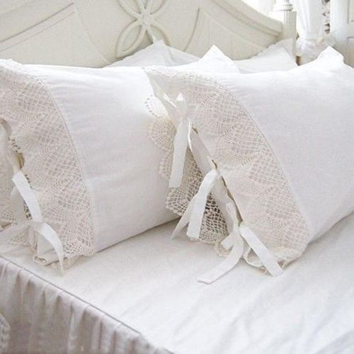 One-Piece-Shabby-Victorian-Style-White-Wide-Lace-Matching-Pillowcase-Sham-1117