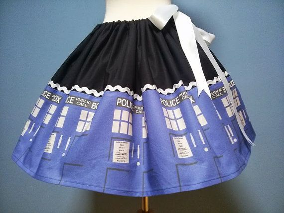Dr. Who Tardis Skirt,Unique and Exclusive Fabric, Adjustable Waist, All Sizes, Plus Size. SUPER CUTE