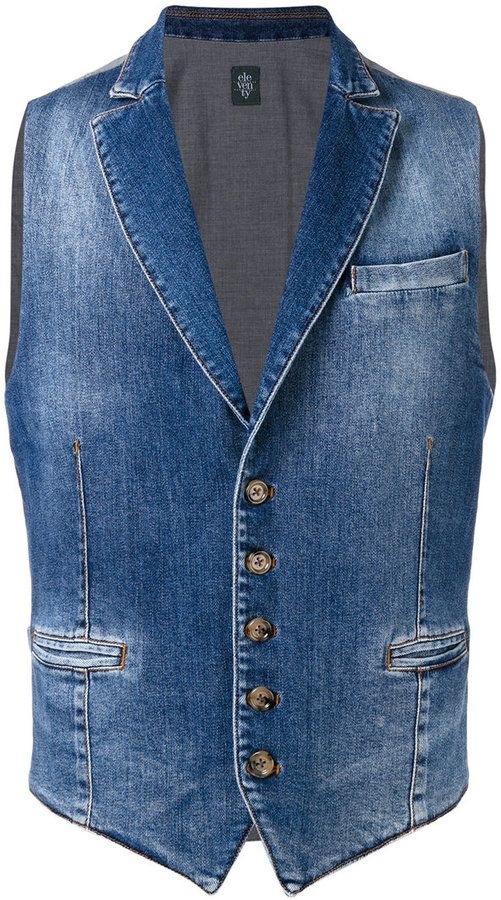 9f9caf632b2 Shop for stonewashed denim waistcoat - men - Cotton/Spandex/Elastane - XL  by Eleventy at ShopStyle. Now for Sold Out.