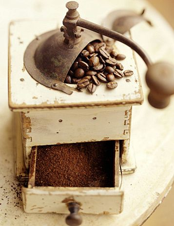 Rustic coffee grinder. I wonder whether you can adjust the grind on this baby?! Either way, pretty amazing.