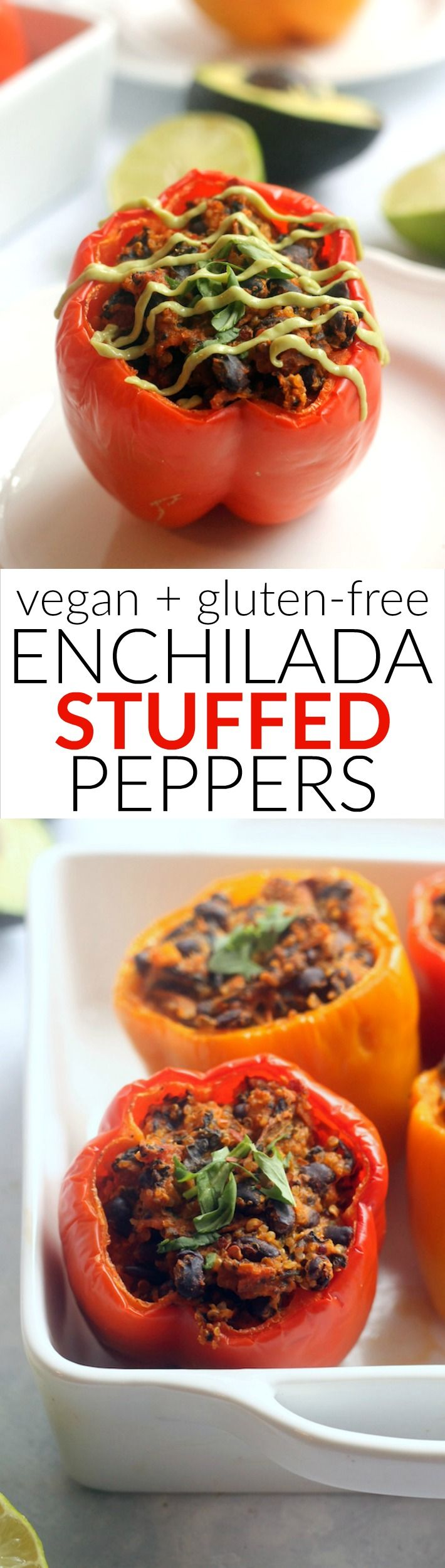 These Vegan Enchilada Stuffed Peppers with Avocado Cream are packed with protein and fiber for a delicious and healthy meatless meal the whole family will love!