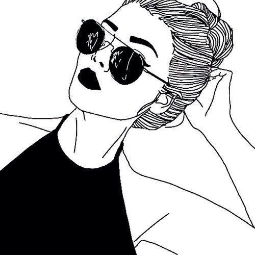 art, noir et blanc, dessiné, dessin, fille, lunettes, grunge, rouge à levres, agréablement, parfaitement, lunettes antisolaires