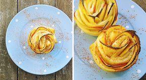 Low Carb Rezept für leckere Apfel-Zimt-Rosen in Quark-Blätterteig. Wenig Kohlenhydrate und einfach zum Nachkochen. Super für Diät/zum Abnehmen.