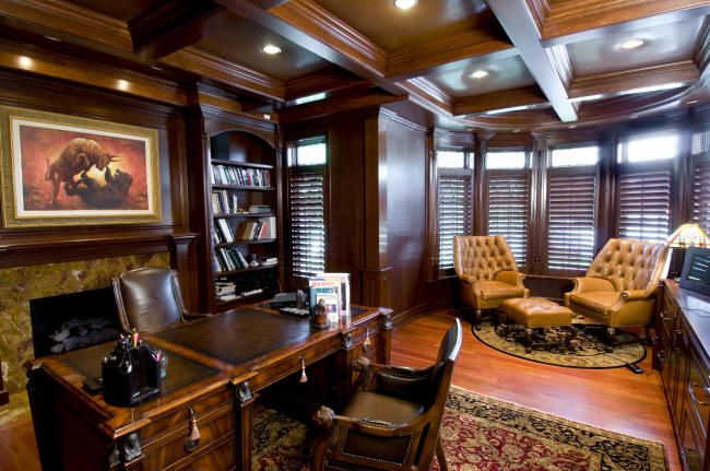 Josh S Study Leather Furniture Fireplace Walls Ceiling