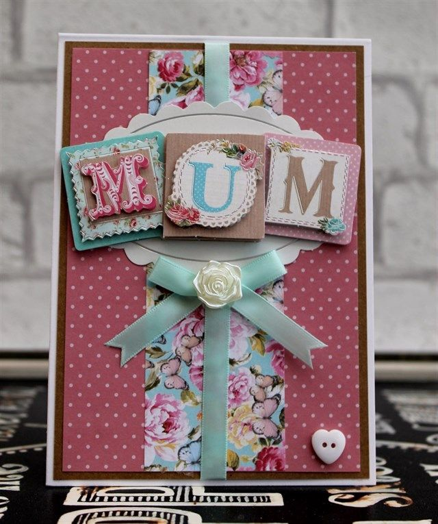 Beautiful handmade Mother's Day card using the Papermania Bellissima Collection.