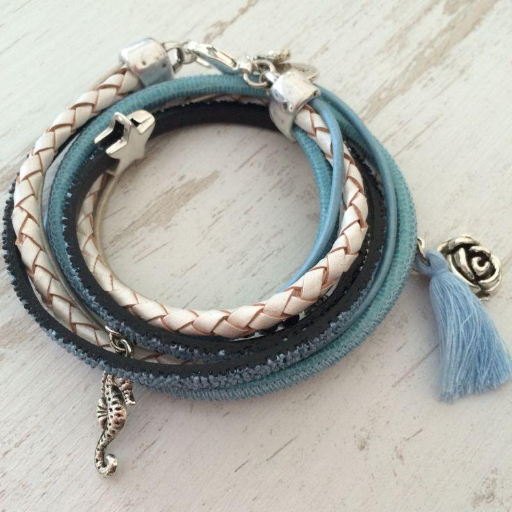 Leren armband met blauw