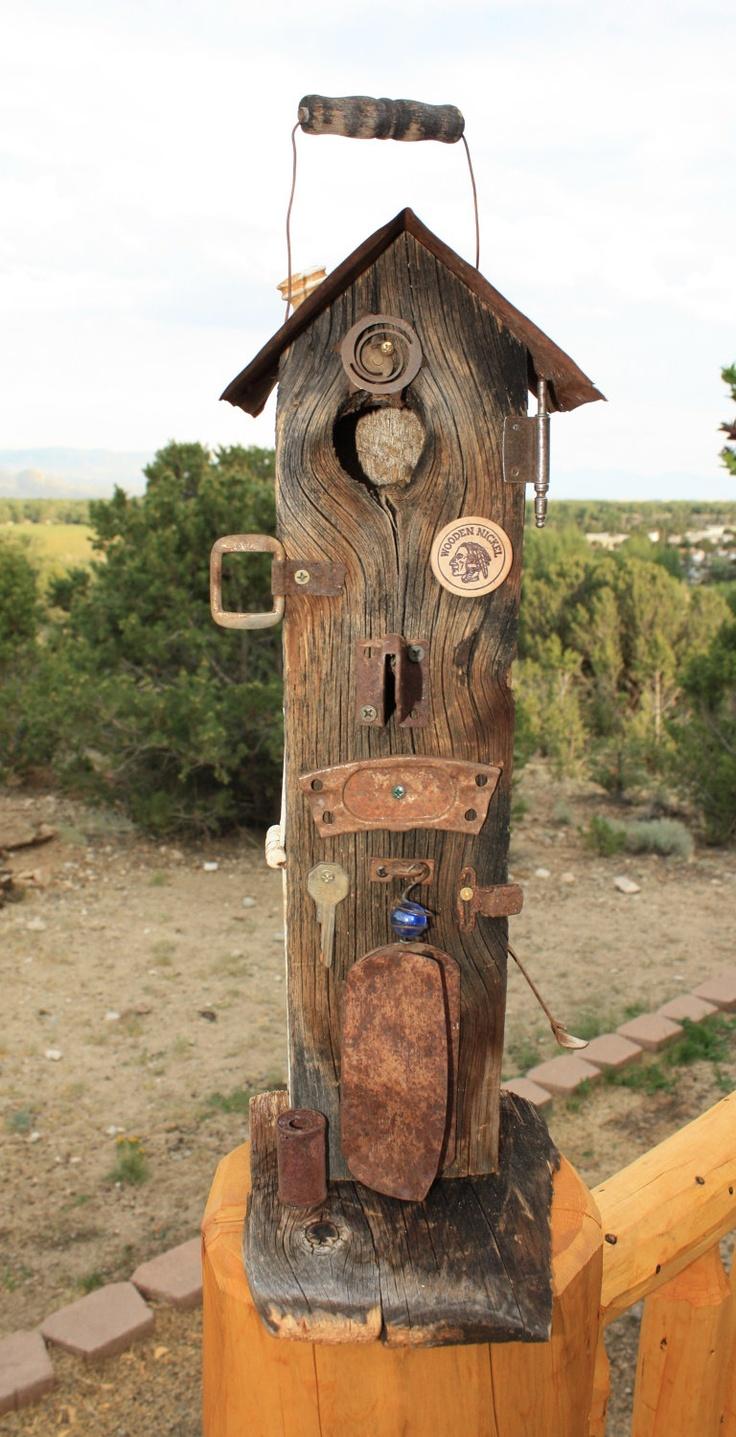 Rustic Birdhouse-Primitive-Barnwood-Old Rusty Metal-Unique-Recycled. $42.00, via Etsy.