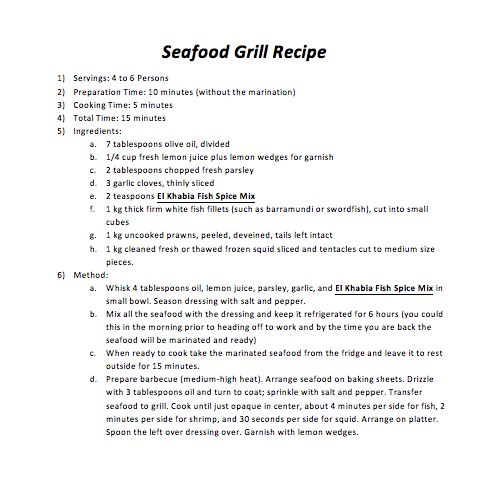 Seafood Grill Recipe