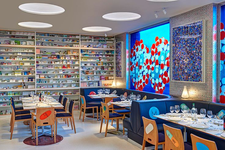 damien hirst has teamed up with english chef mark hix on 'pharmacy 2′, an art-themed restaurant at hirst's newport street gallery in vauxhall, london. opening to the public on february 23rd 2016, the eatery features work from hirst's most iconic series, including the 'medicine cabinets' and 'butterfly kaleidoscope' paintings, etc