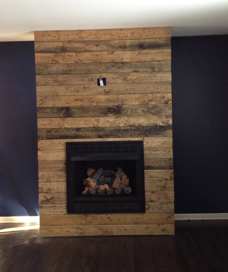 How To Place Wood In A Fireplace Part - 21: How To Create A DIY Reclaimed Wood Fireplace Surround For Less Than $100