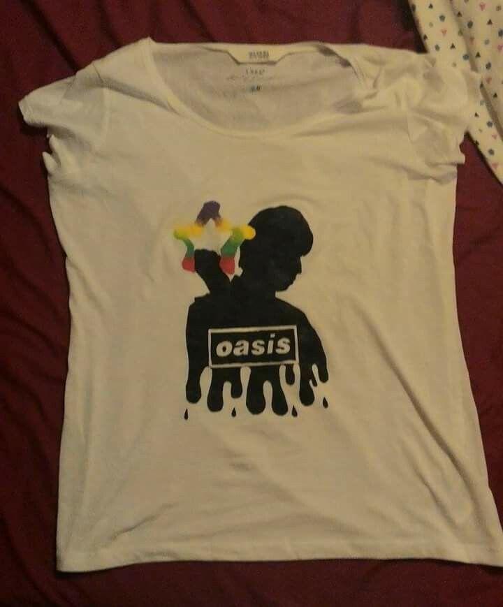 Liam Gallagher silhouette-Oasis acrilico su maglietta